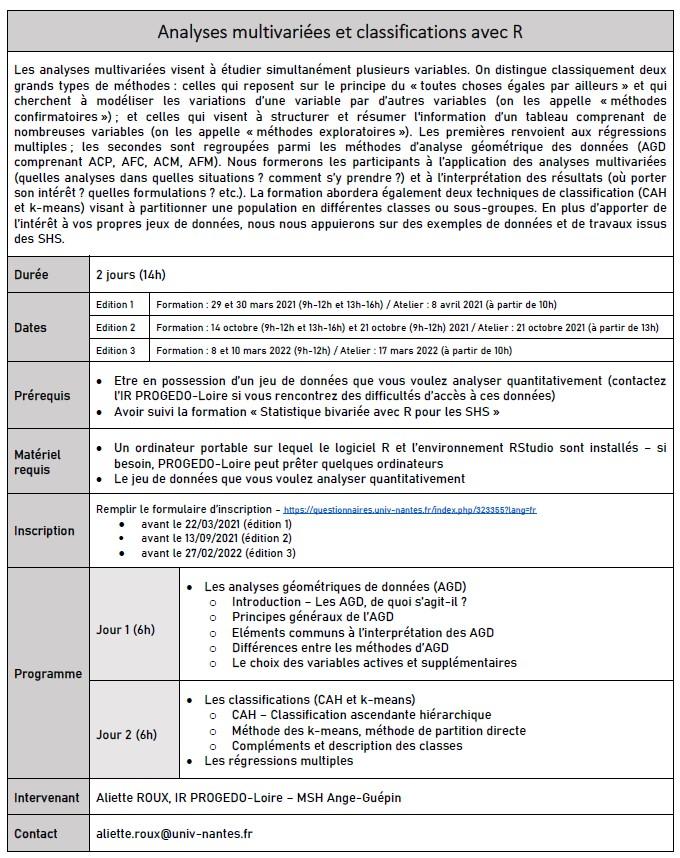 Formation Progedo-Loire Analyses multivariées et classif.avec R